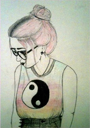 this post s  grunge  theme I made this drawing of a  grunge  girlHipster Drawing Tumblr
