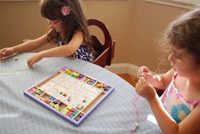 Wooden Stringing Beads wtih Alphabet for Preschoolers by Melissa & Doug, Working Fine Motor Skills