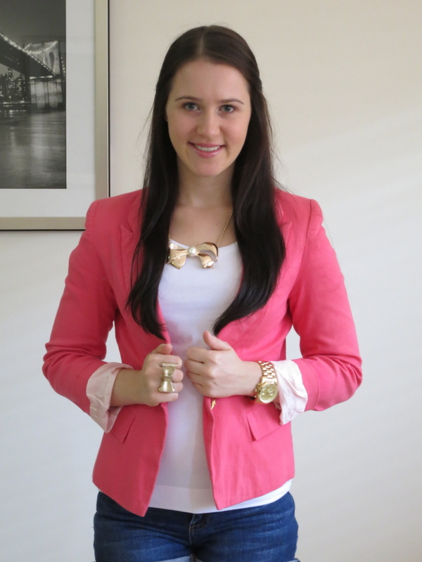 dark wash denim shorts, white t-shirt, coral blazer and gold jewellery
