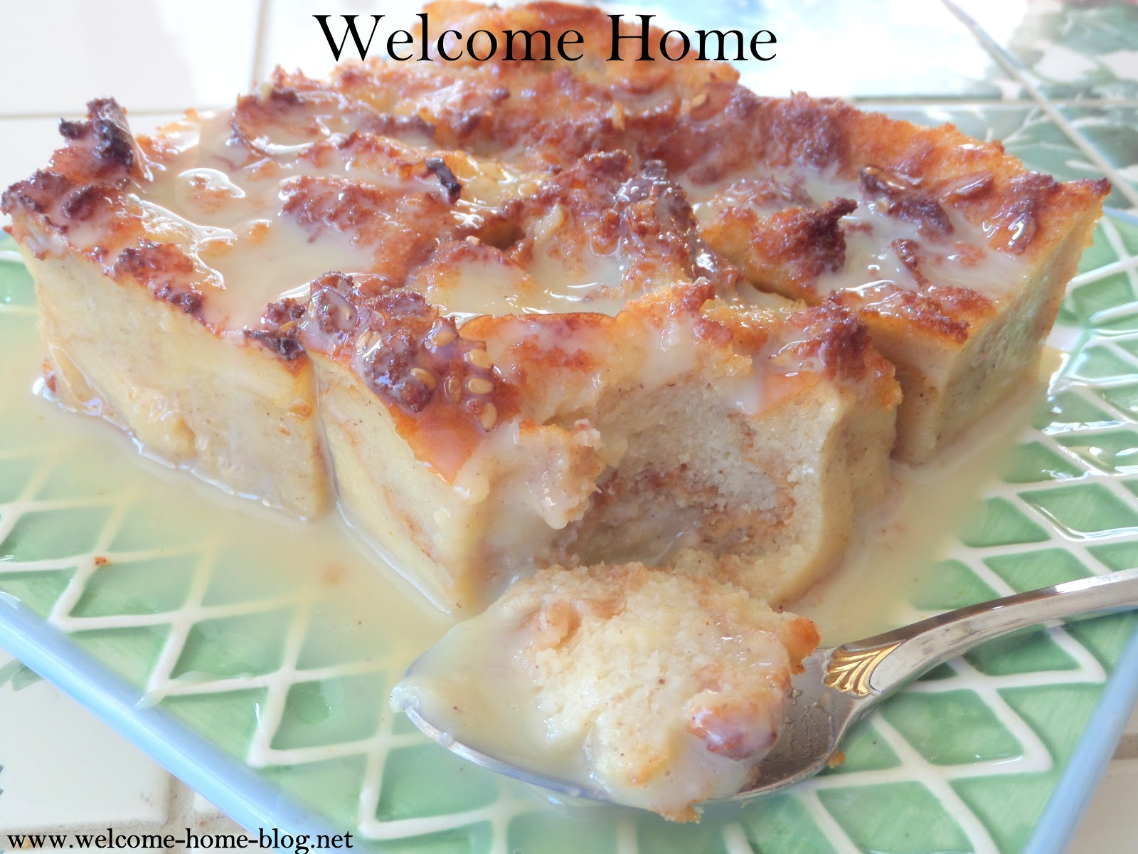 Old fashioned bread pudding with vanilla sauce 53