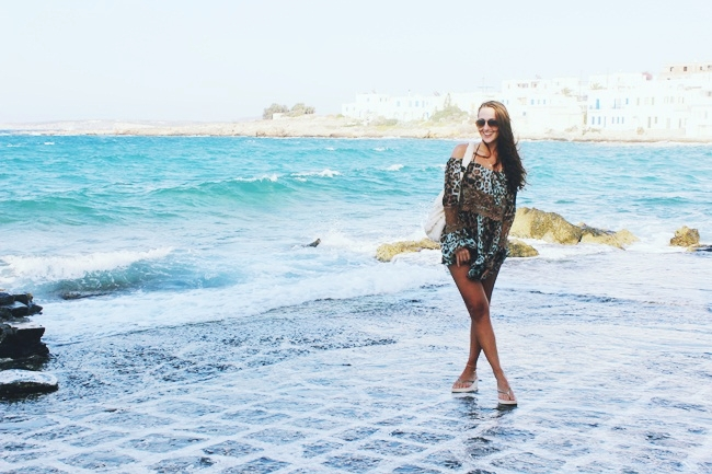 Natural beauty of Naoussa town,sea,wind,rocks,salt.Old port of fishing village of Naoussa in Paros.Paros island travel guide.What to see in Paros.Ostrvo Paros,ribarsko selo Naoussa,stara luka.Animal print blouse.