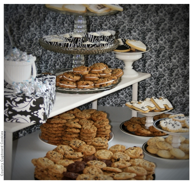 black white wedding cookie table