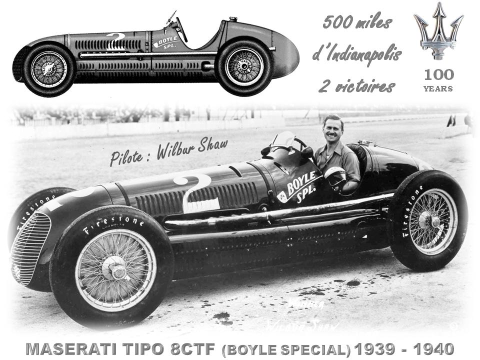 MASERATI 100 YEARS - AUTOWORLD BRUSSELS -  TIPO  8CTF - 1939-1940 -  A la conquête du continent américain : le pilote Wilbur Shaw remporte 2 victoires à Indianapolis -  Bruxelles-Bruxellons
