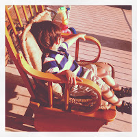rocking chair, shadows, small boy, sun, porch