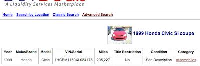 1999 Civic Si Auction