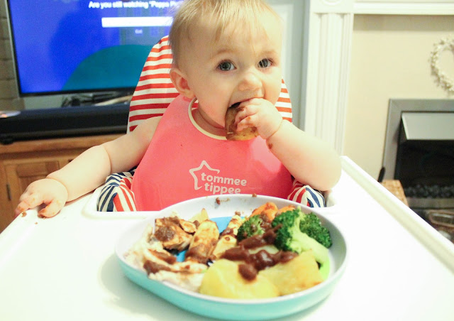baby eating first roast dinner