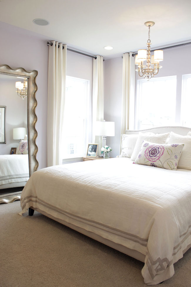 lilac and white Master bedroom with big mirror in Clarksburg MD