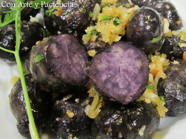 Patatas violetas al horno