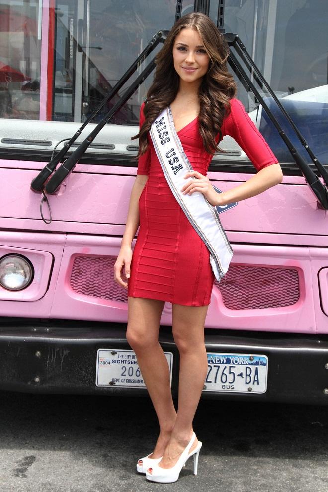 Miss USA 2012 Olivia Culpo flaunts red mini dress at the Pink Bus ...