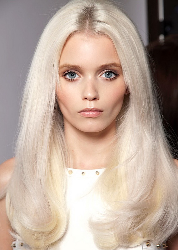 Platinum blonde hair with light