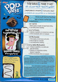 Left side of Kellogg's Spookylicious Frosted Chocolate Fudge Pop-Tarts box