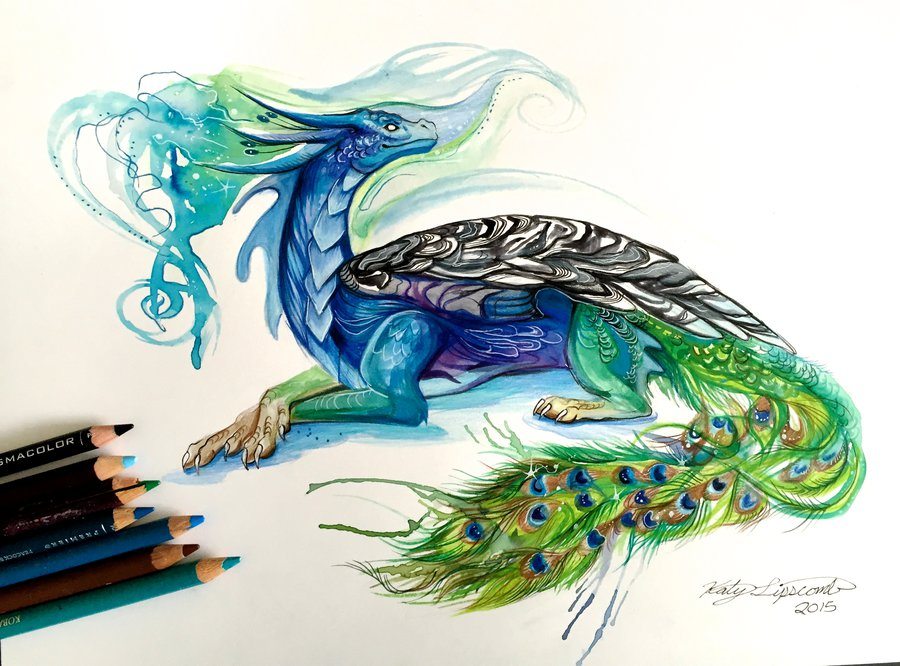 12-Peacock-Dragon-Katy-Lipscomb-Lucky978-Fantasy-Watercolor-Paintings-Colored-Pencils-Drawings-www-designstack-co