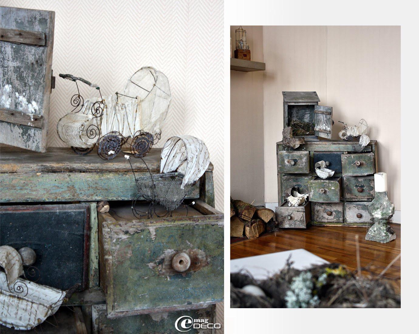 Petits landaus en fil de fer et tissus, papier, cuir, tarlatane, créations Catherine Durr