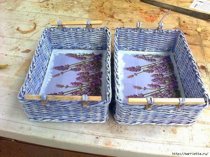 Как сделать крышку для корзины из газетных трубочек