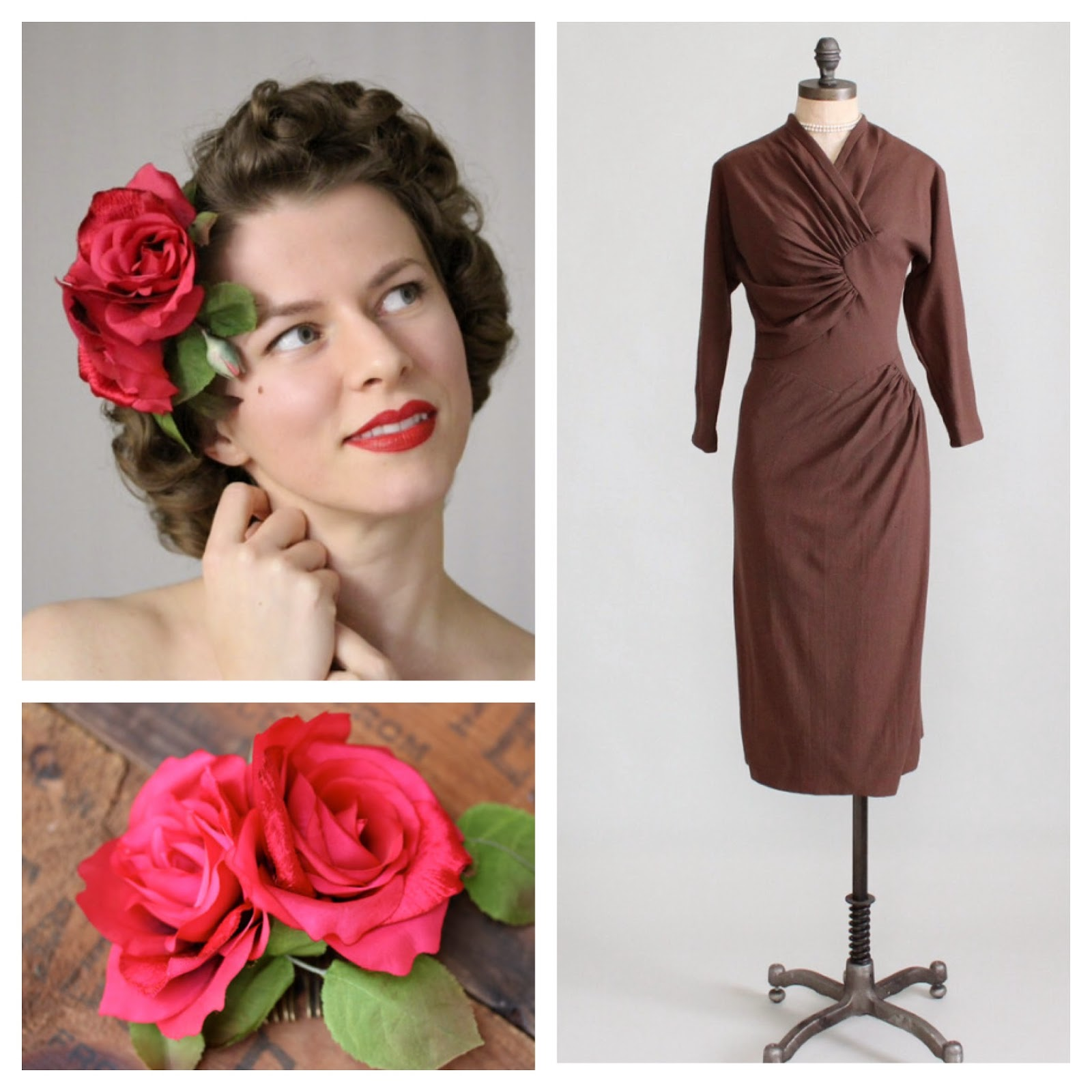Classic Vintage #rose #hair #vintage #dress #brown