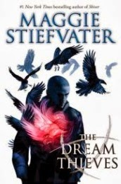 Cover art for The Dream Thieves by Maggie Stiefvater, featuring a boy with a shaved head and a flame in the centre of his chest.
