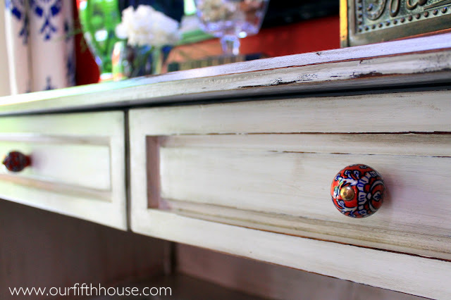 Our Fifth House - red Hobby Lobby knobs