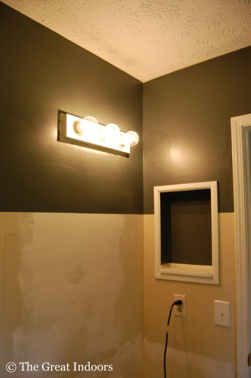 Can You Paint Bathroom Light Fixtures the great indoors: master bathroom: paint! {kind of}