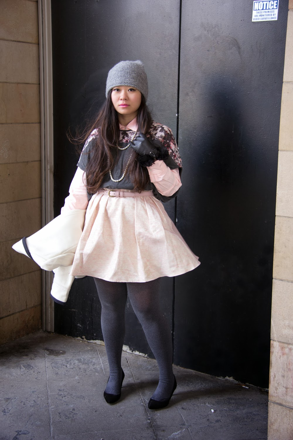Pastel-Pink-Skater-Skirt, LeChateau-Gloves, Pearls-Necklace, Pink-Belt