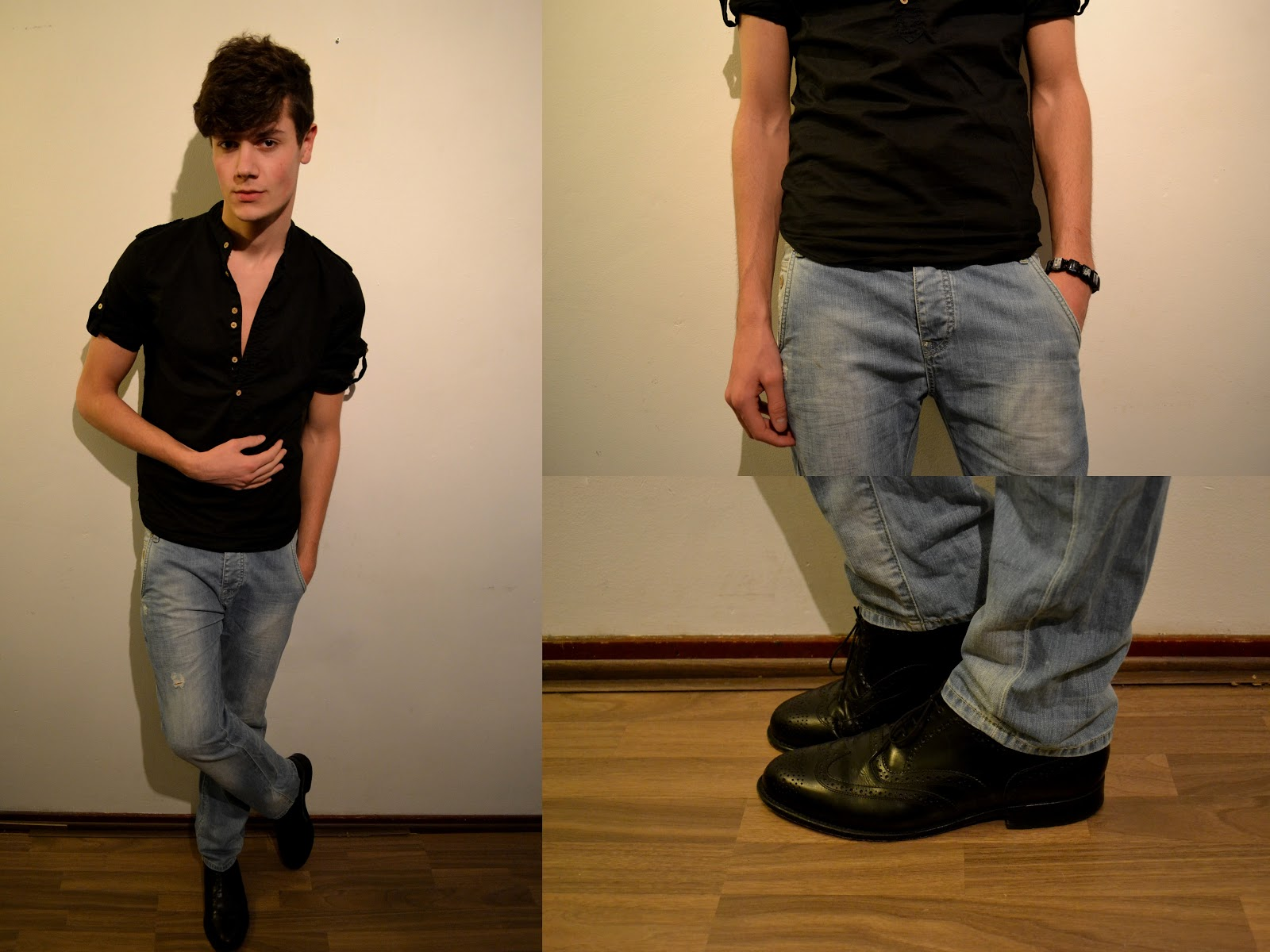 By merks day 50 outfit 50 Black shirt blue jeans