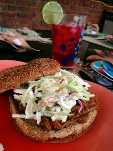 barbecue, BBQ, pulled pork, pork, crockpot, crock pot, Hawaiian, pineapple, vinegar, coleslaw, sweet and tangy, Sowiian, sandwiches, pulled pork sandwiches