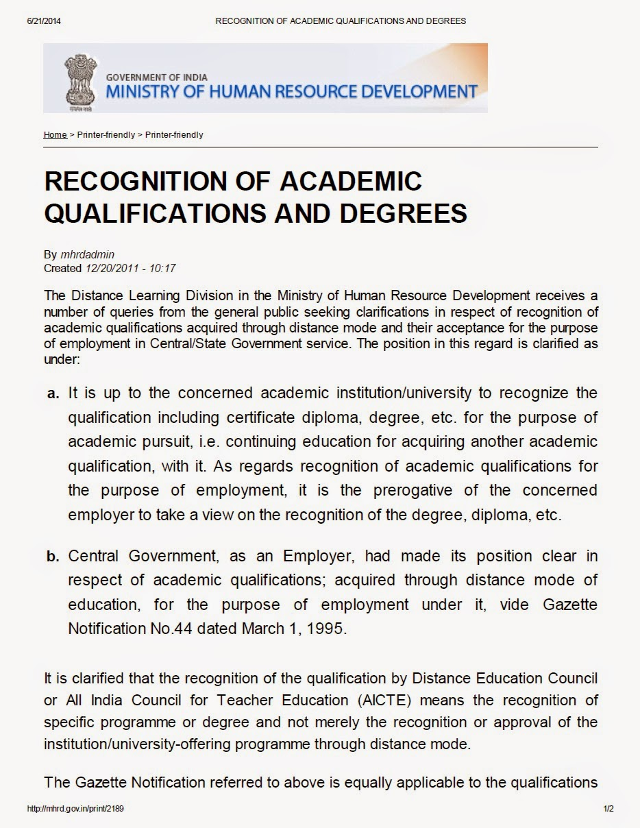 Recognition of academic qualification and degrees