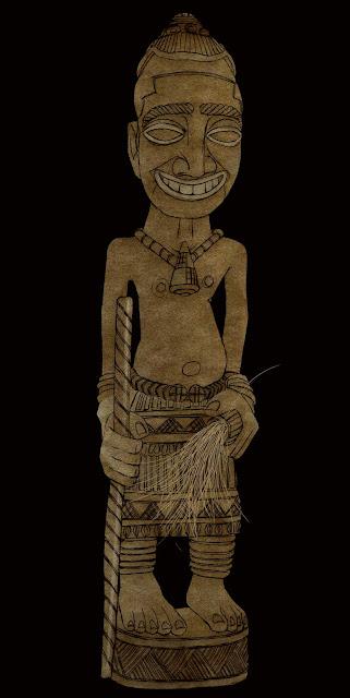 talla, madera, Congo, yuyu,legado Carsi, dibujo