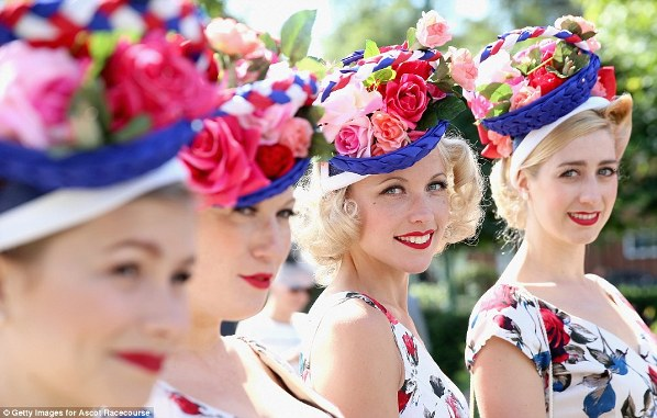The Tootsie Rollers in hats like baskets of flowers on day 1 at Royal Ascot, 2014