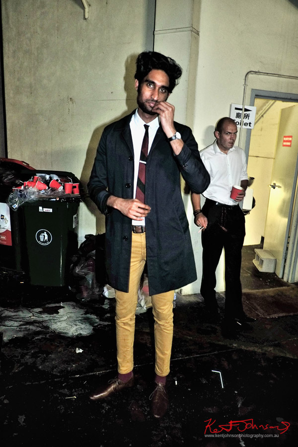 Blue rain jacket, mustard pants white shirt and narrow tie - Mens style - ORGNL.TV - Stolichnaya Vodka, Sydney Launch Party