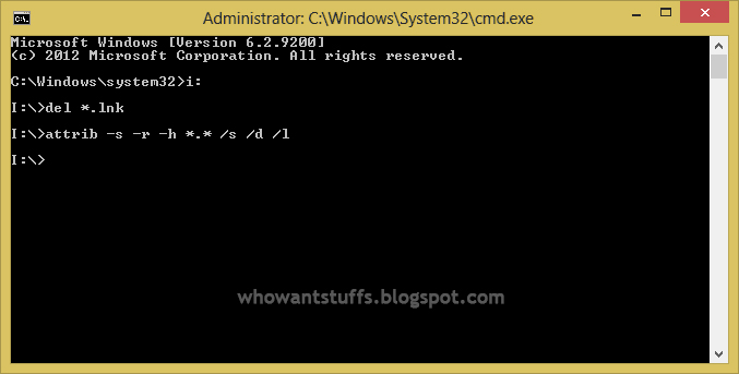 How to remove shortcut virus using CMD
