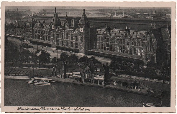 black and white deckle edge card of Amsterdam station