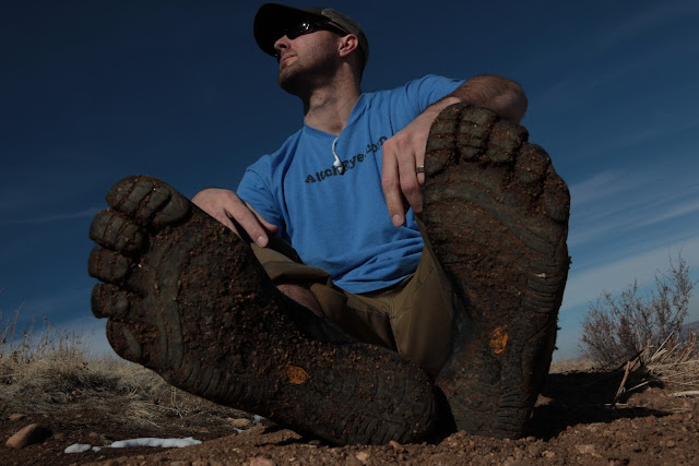 Muddy Vibram Five Fingers during a hike in Colorado.