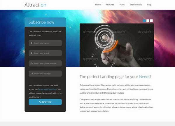 Attraction – Responsive WordPress Landing Page