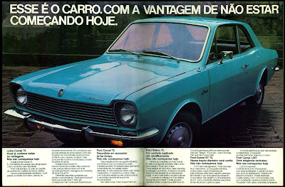 propaganda Ford Corcel - 1974.  anos 70. propaganda de carros anos 70