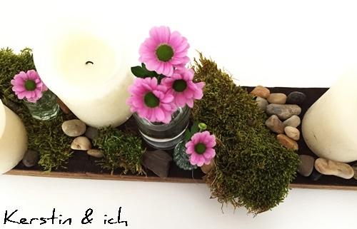Deko Weinfassdaube Blumen Moos Steine