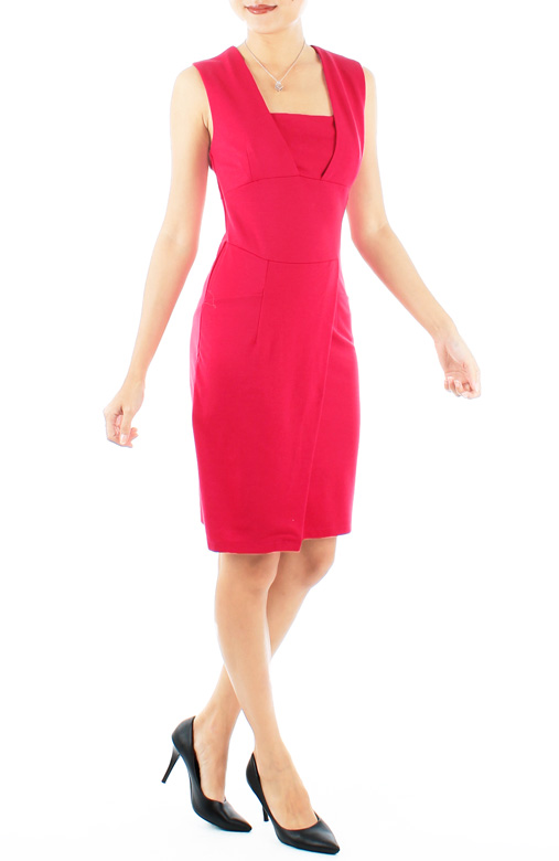 Cerise Pink Plunge Wrap Pencil Work Dress