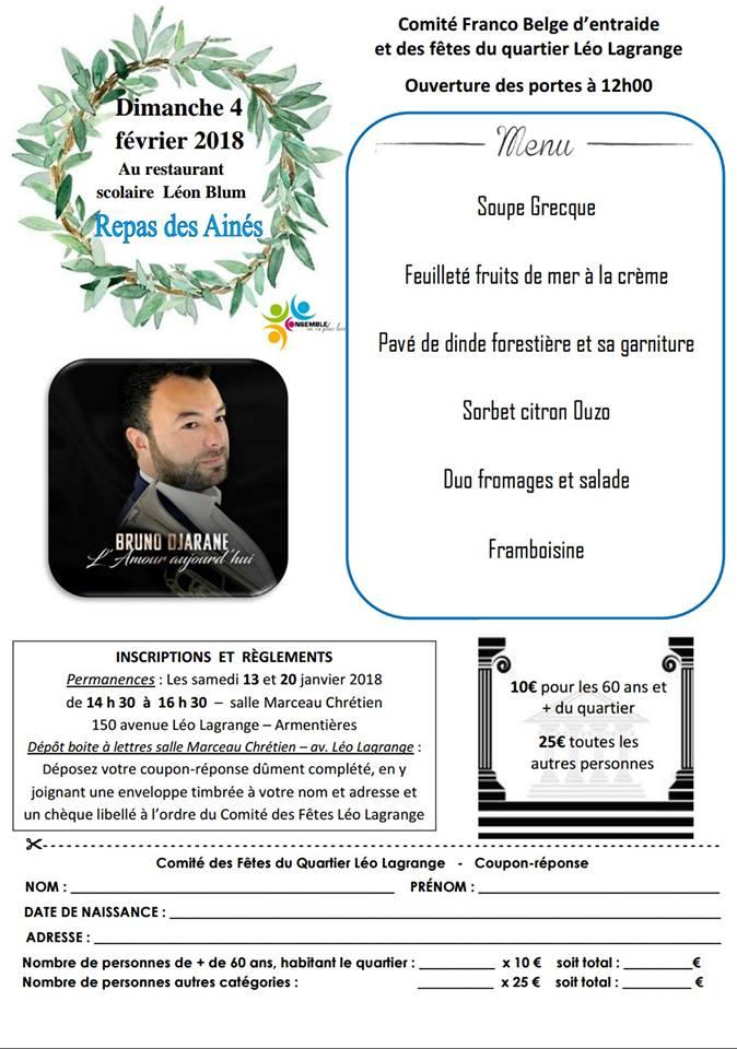 Repas des Aînés du Comité Léo Lagrange le 4 février à 12h au restaurant scolaire Léon Blum
