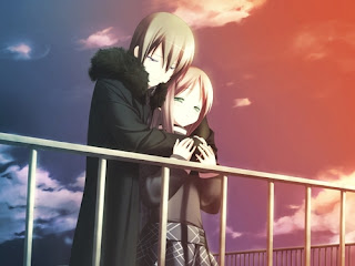 anime couple fall in love at the time of sunset