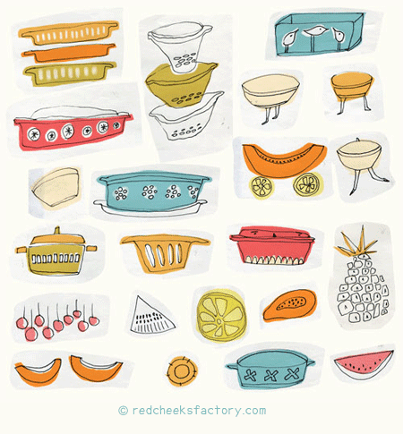 tropical pyrex casserole sketches for e-course make art that sells with illa Rogers