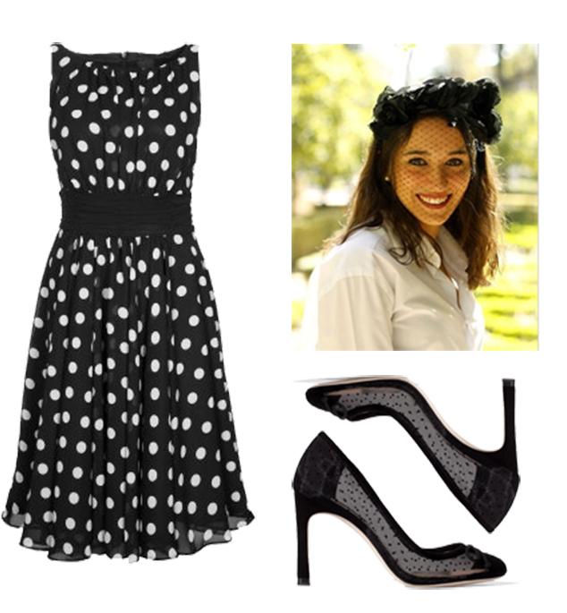 Complementos para vestido negro de lunares