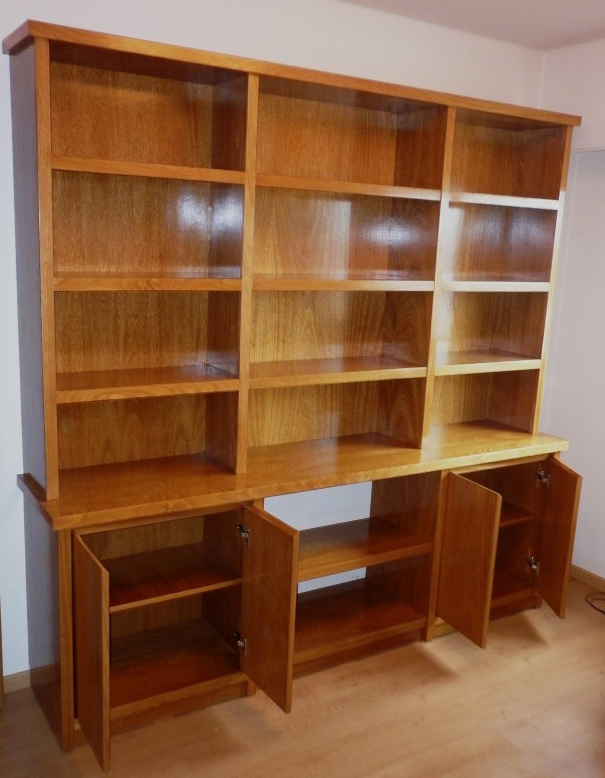 Reynaga muebles biblioteca en roble de 2 m de ancho con for Muebles de biblioteca