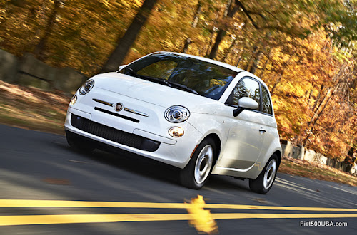 Fiat 500 Pop on Autumn Road