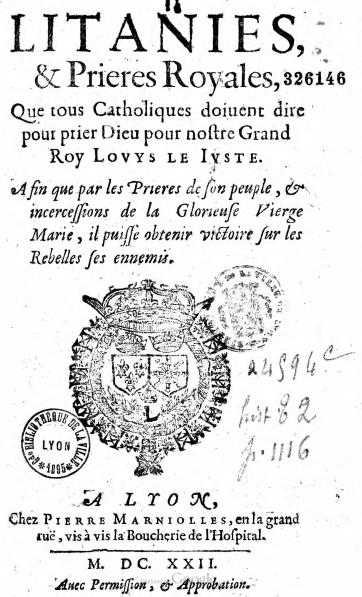 Litanies royales (1622)