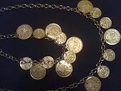 pulseira e colar moedas em prata