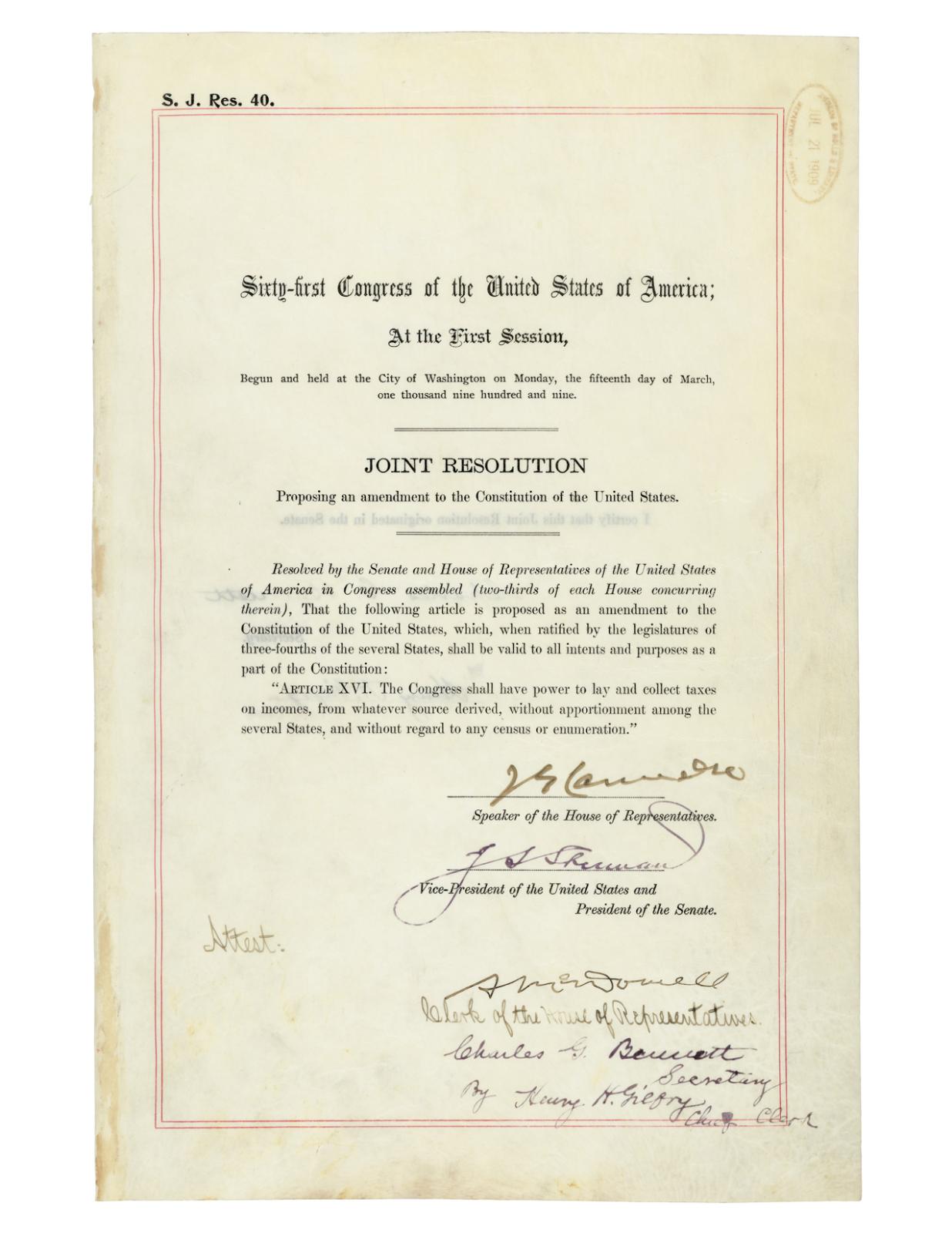 16th Amendment Examples 16th Amendment to The