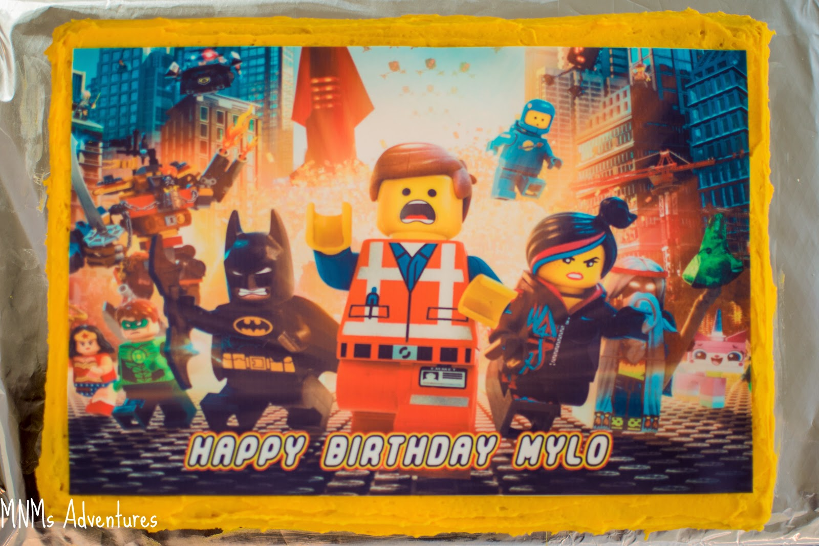 LEGO movie party cake personalised edible icing
