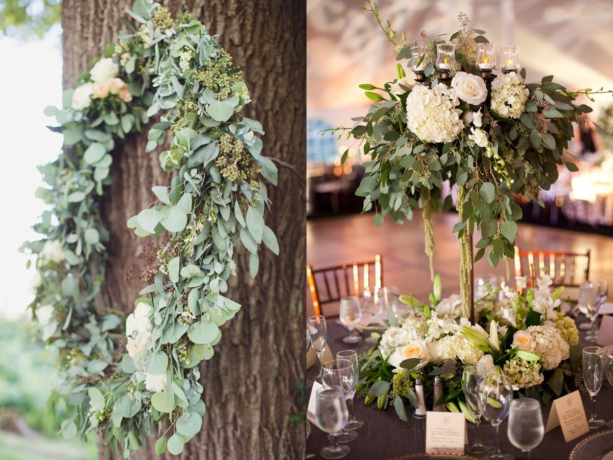 arreglos florales con eucalipto para una boda