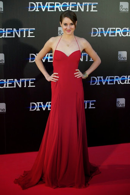 Shailene Woodley in a backless red dress at the 'Divergent' Madrid premiere
