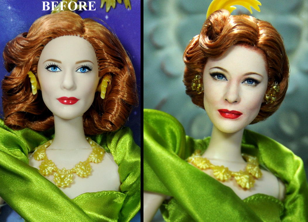11-Cate-Blanchett-as-Lady-Tremaine-Noel-Cruz-Hyper-Realistic-Make-up-on-small-Dolls-www-designstack-co