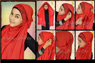 Cara memakai Jilbab Pashmina Gaya